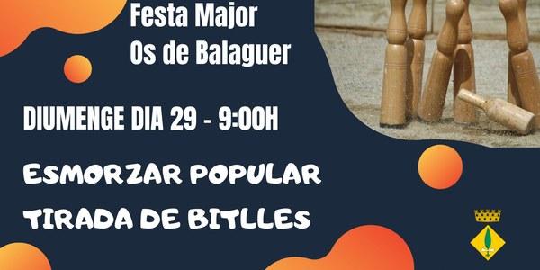Diumenge dia 29 - 9h Esmorzar Popular i Tirada de Bitlles