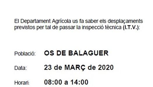 ITV AGRICOLA - 23 MARÇ DE 2020