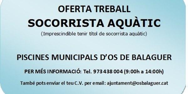 Oferta treball SOCORRISTA AQUÀTIC - Piscines Municipals d'Os de Balaguer