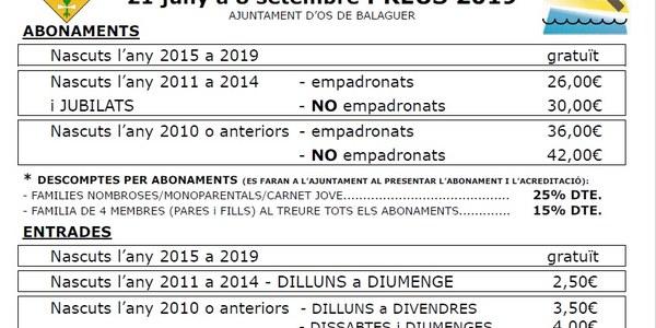 Piscines Municipals d'Os de Balaguer obertes del 21 juny al 8 de setembre