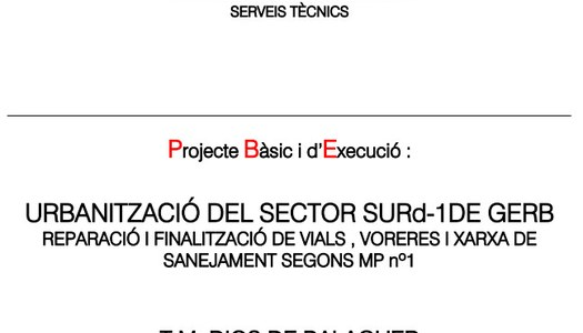 Projecte urbanització del sector SURd-1