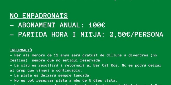 Quotes pàdel - Os de Balaguer 2021